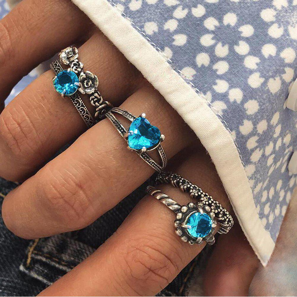 5-PIECE  Women'S Vintage Flower Set with Blue Diamond Ring Set Knuckle Ring
