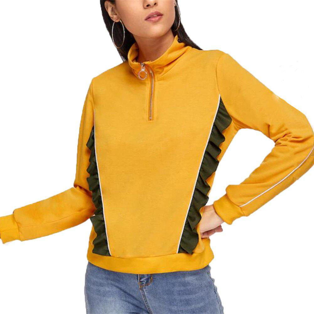 Shops Women's Zipper Splicing Long Sleeve Sweatshirt