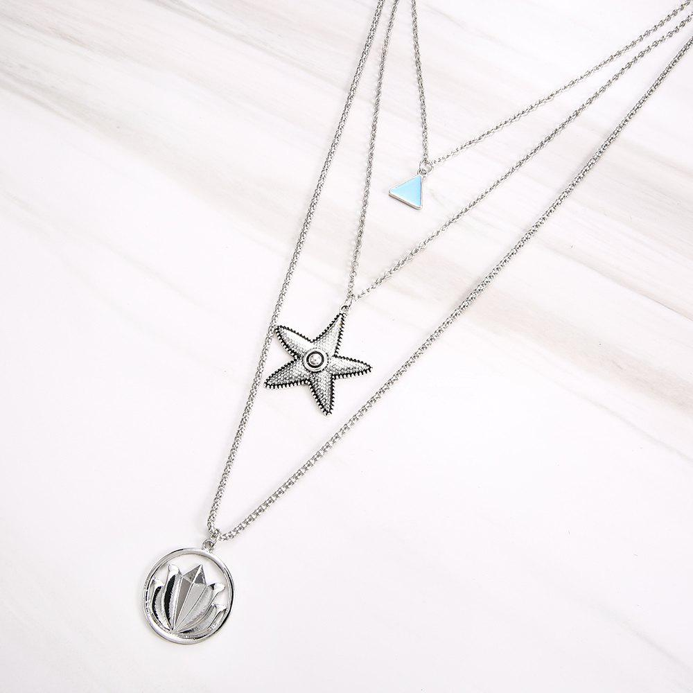 Multilayer Necklace for Women Lotus Starfish Star Shape Pendant Necklace Gift