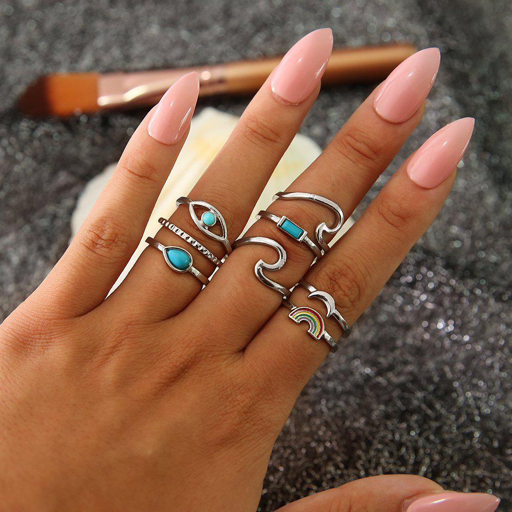 8 PCS/Set BOHO Colorful Rainbow Stone Midi Rings Set For Women New Retro
