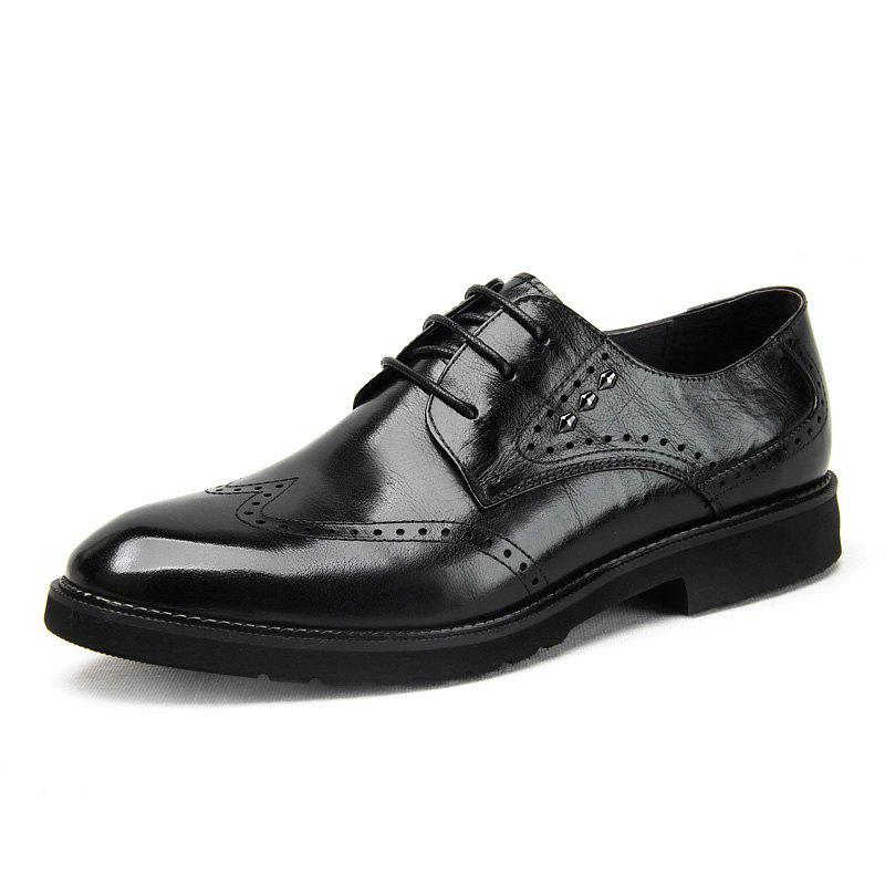 Online Men'S Business Casual Leather Shoes Hollowed-Out Men'S Shoes Engraved Thick Sole
