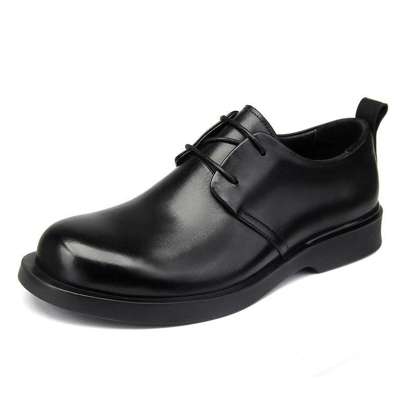 Hot Young Men Business Leather Shoes Dad Belt Round Head Thick Soles Outdoor Shoes