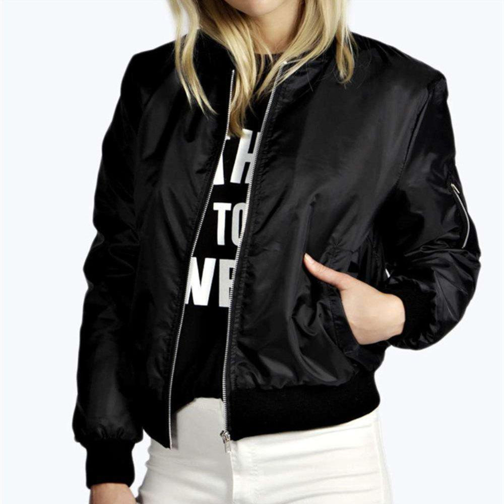 Store Solid Color Fashion Zipper Jacket