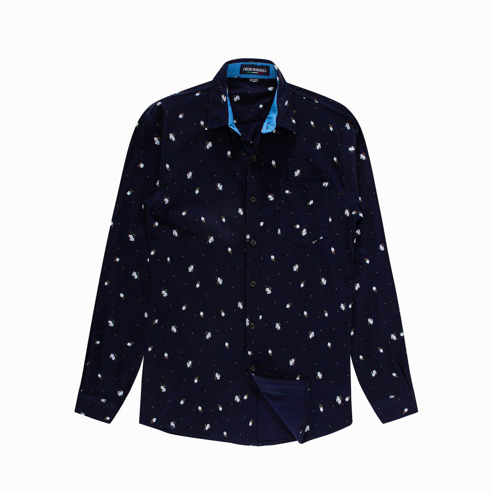 Store Men's New Long Sleeve Casual Printed Elastic Shirt