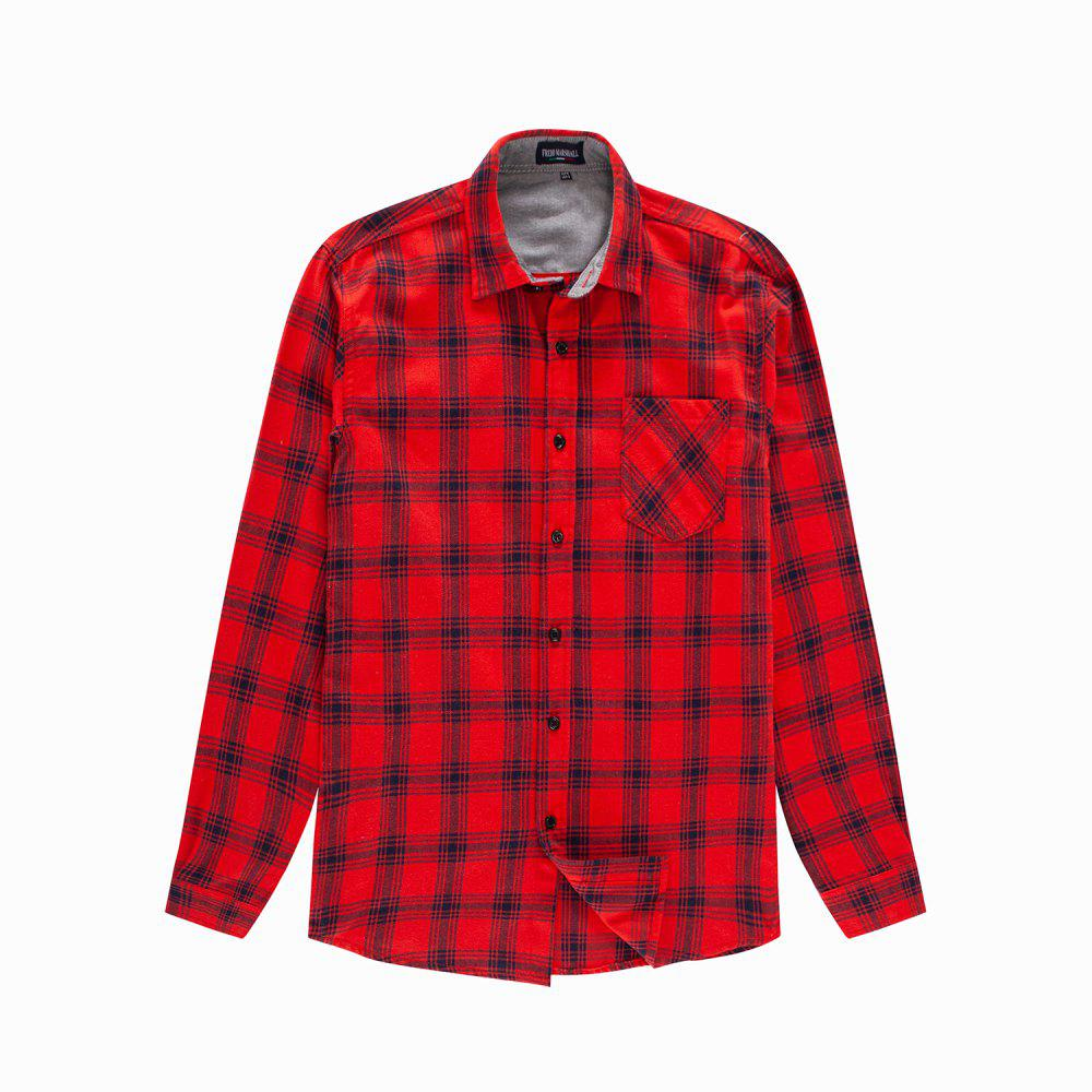 Affordable Man New Long Sleeve Cotton Plaid Casual Shirt