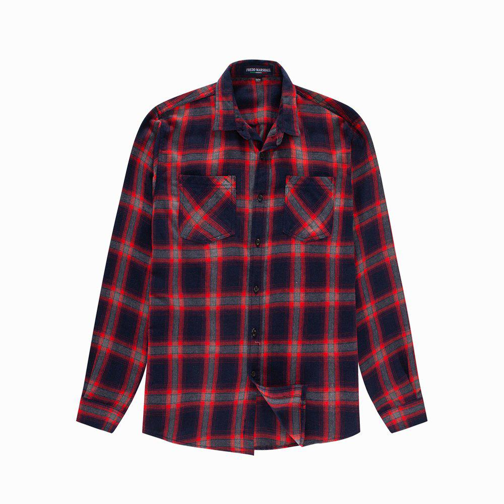 Shops Men's New Long Sleeve Cotton Plaid Casual Pocket Shirt