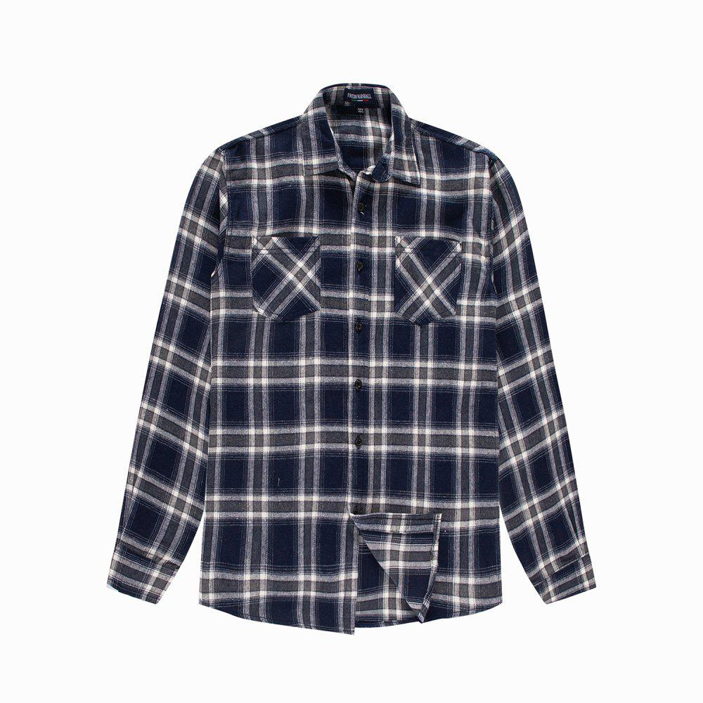 Outfits Men's New Long Sleeve Cotton Plaid Casual Pocket Shirt
