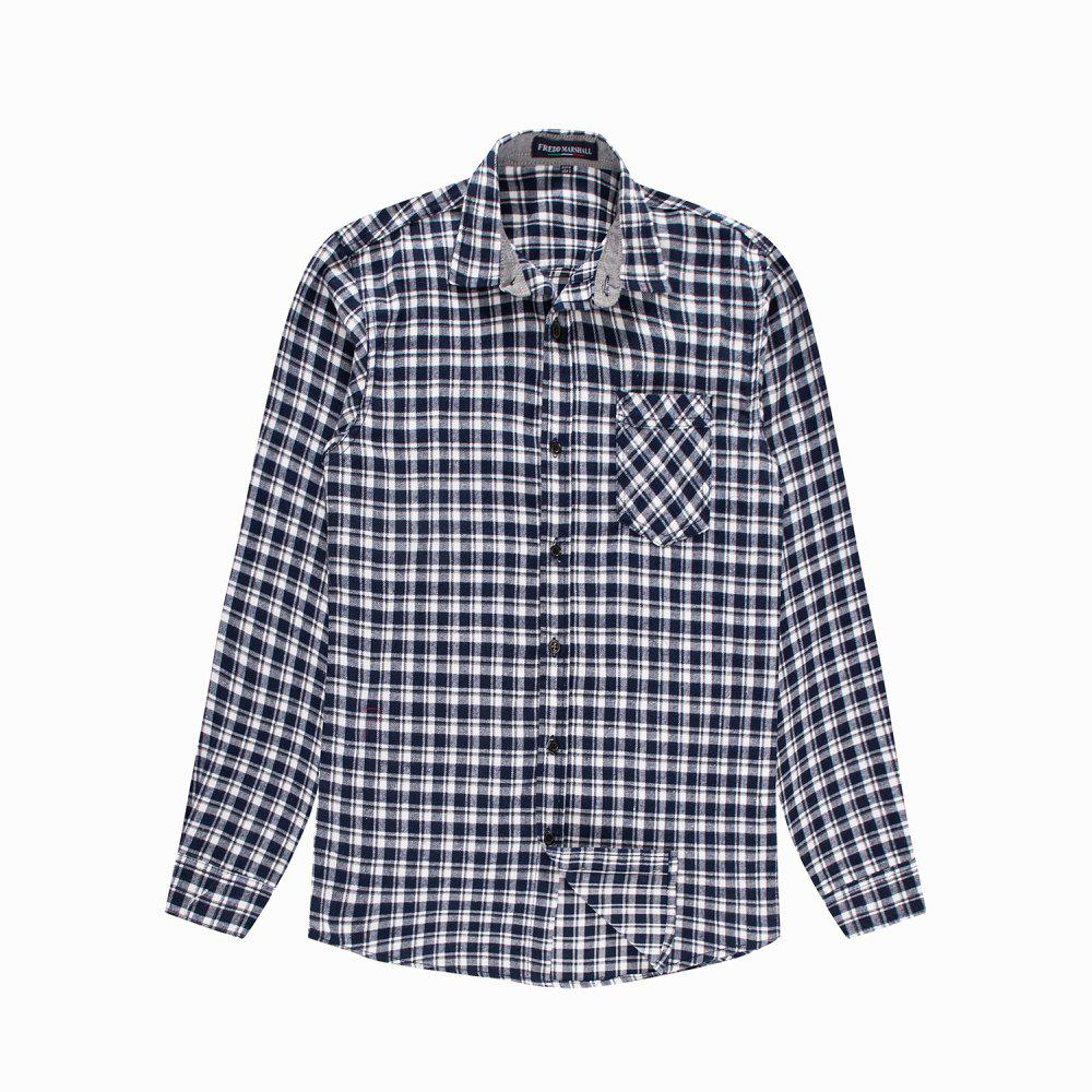 Unique Men's New Casual Long Sleeve Flannel Plaid Shirt