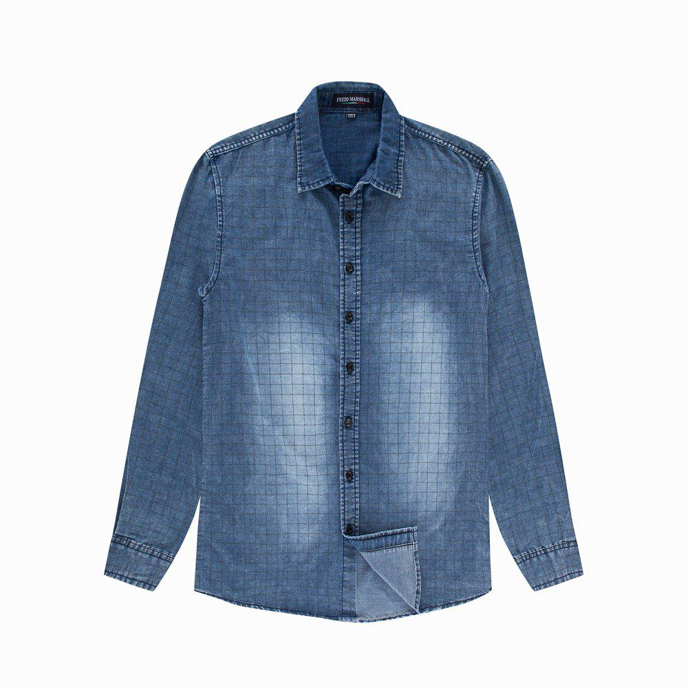 Outfit Men's New Long Sleeve Casual and Plaid Printed Shirt
