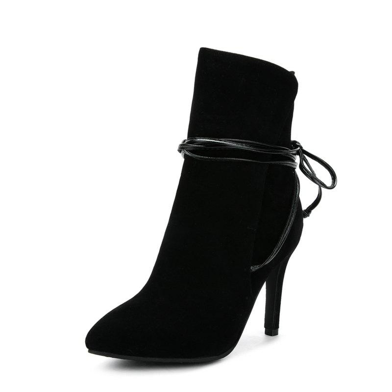 63bfdb2def4 49% OFF  Slim High Heel Suede Lace Warm Sexy Boots