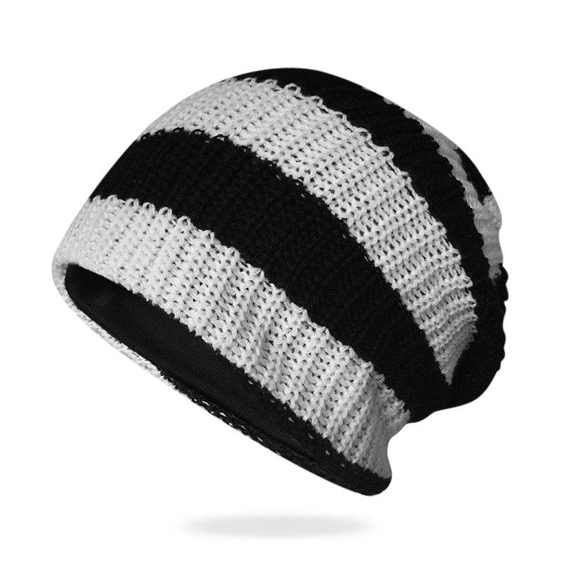 Online Striped Knit Head Cap + Free Size for 55-62CM