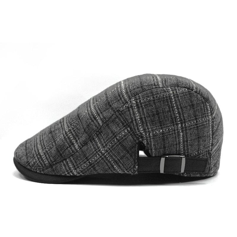 Trendy Plaid breathable beret + adjustable for 56-58cm