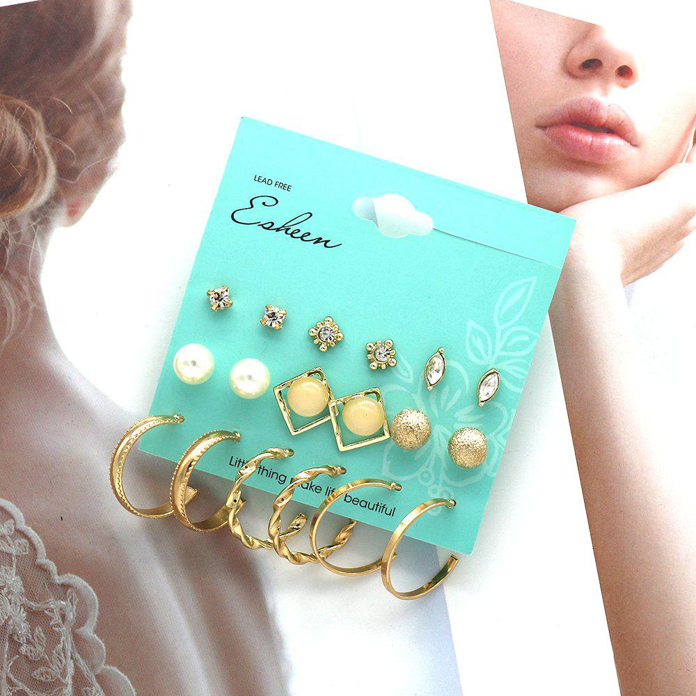 9-PIECE Set of Fashion Studs for Women Pearl Diamond Set Jewel Earrings