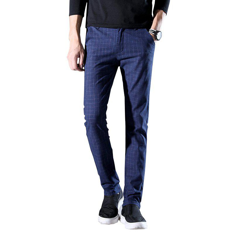 Chic Men'S Fashion Casual Plaid Trousers Work Work Party Pants 519