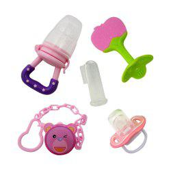 5 Pcs Baby Pacifier Set Baby Cute Cartoon Pattern Durable Infant Teether Set -