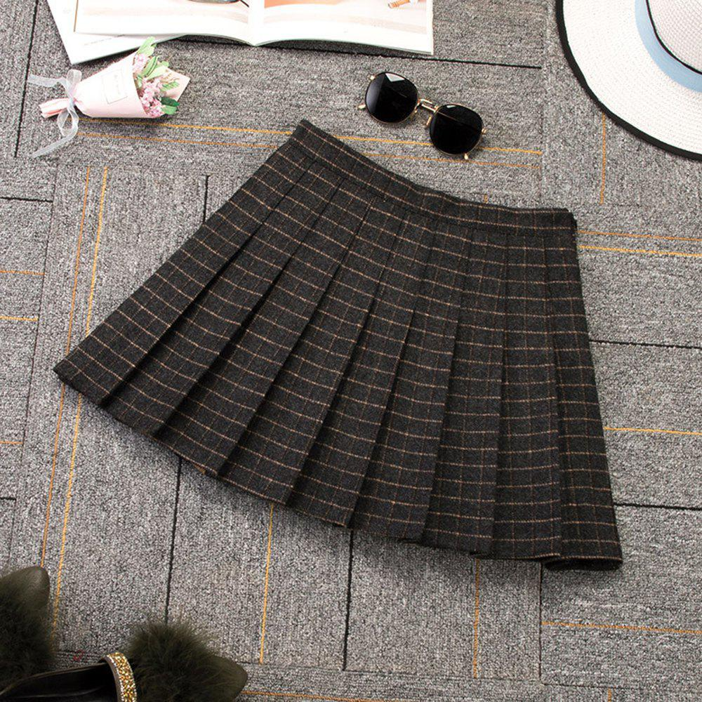 Buy Woolen Plaid High Waist Slim Pleated Skirt Multicolor A-Line Skirt