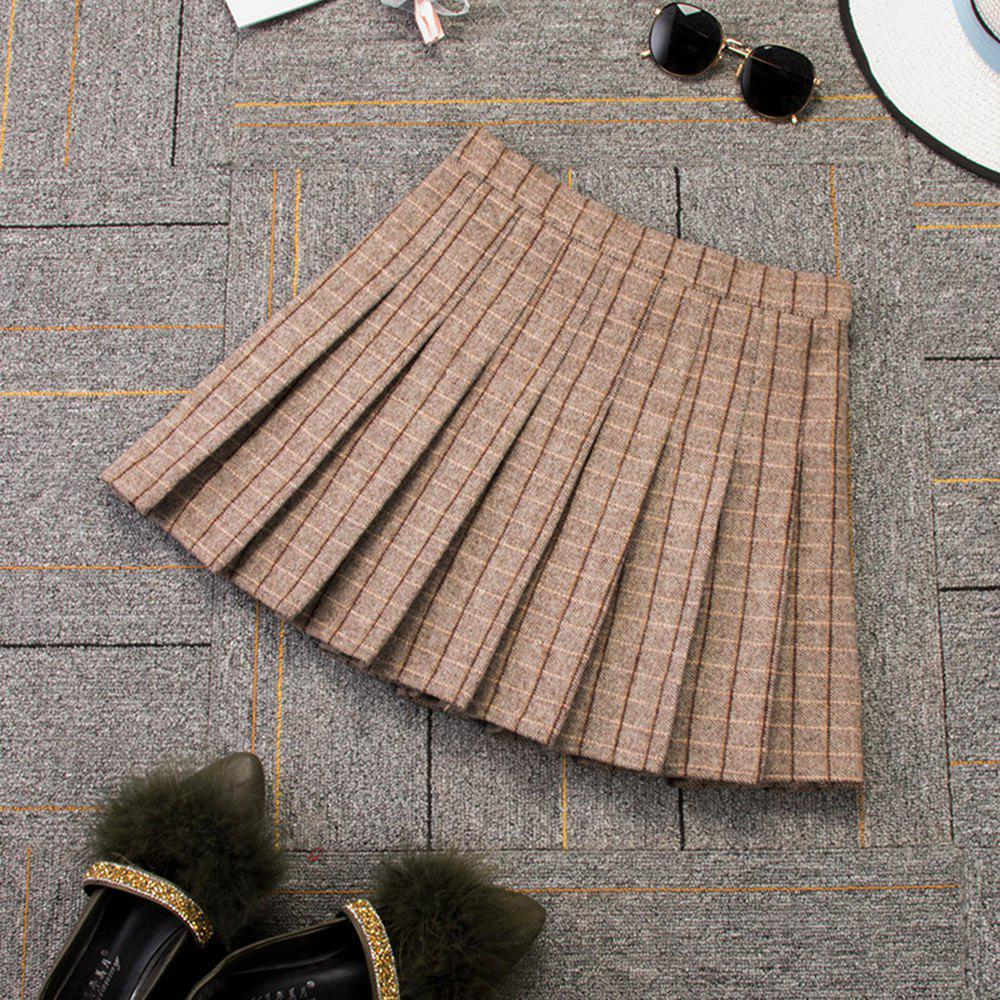 Affordable Woolen Plaid High Waist Slim Pleated Skirt Multicolor A-Line Skirt