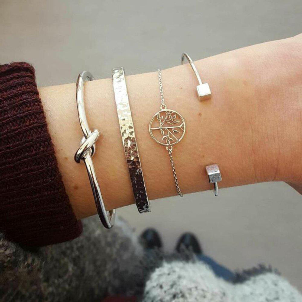 4-PIECE Set Women'S Fashion Bracelet Knotted Tree of Life Bracelet