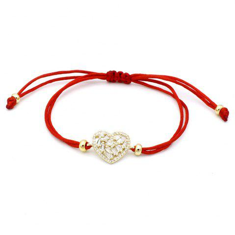 Bracelet en corde zircon rouge serti micro coeur de mode simple