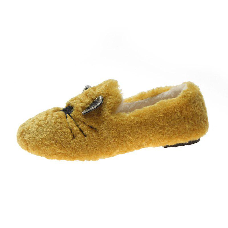 Affordable Plush And Thickened Flatsoled Single Shoes