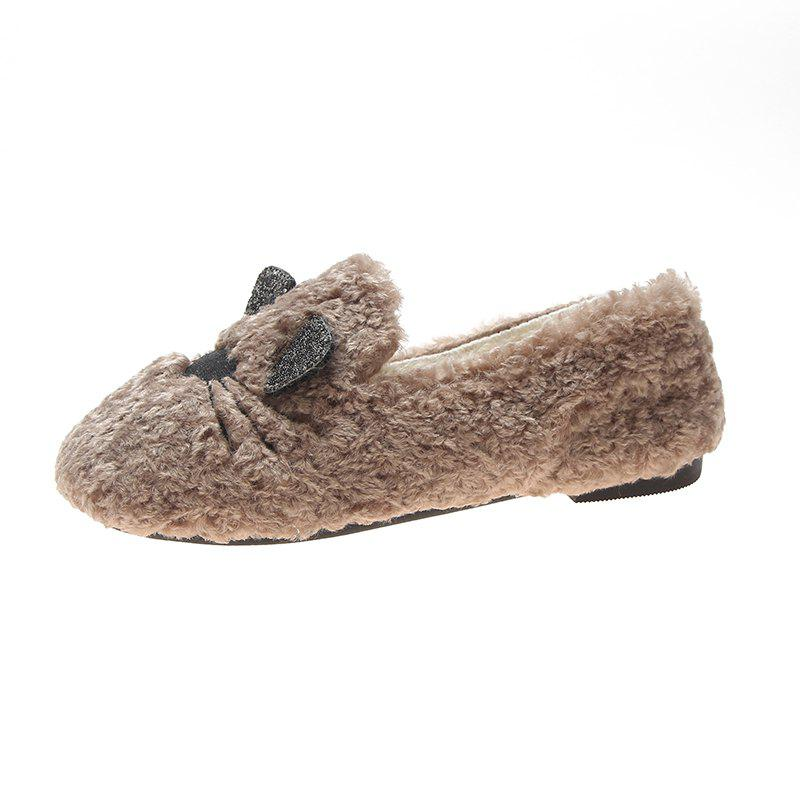 Cheap Plush And Thickened Flatsoled Single Shoes
