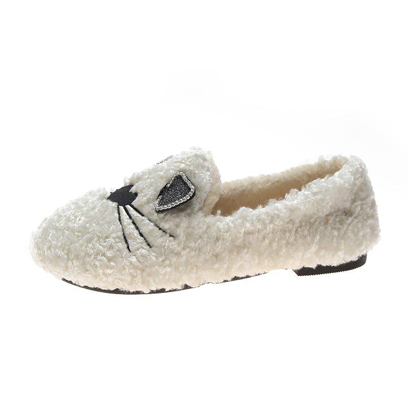 Buy Plush And Thickened Flatsoled Single Shoes