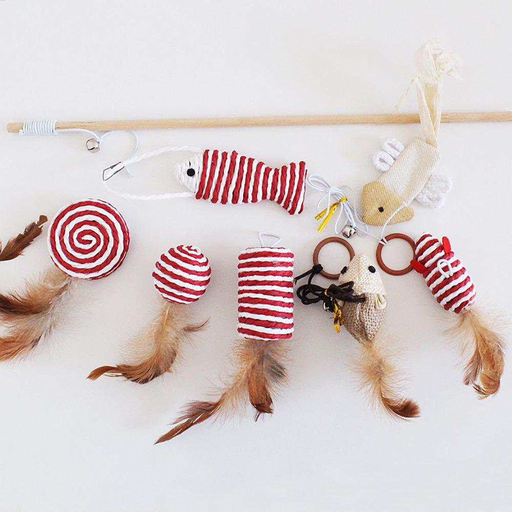 Hot 7 Pieces Creative Fashion Pet Gifts Resistance To Bite Toy Suit Cat Charmer Wand