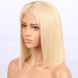 Short Bob Haircut Blonde Color Human Hair Lace Front Wig for Women -