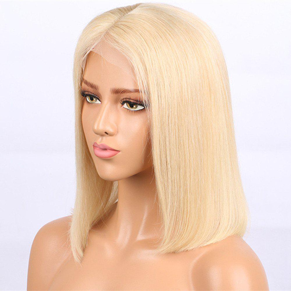 Best Short Bob Haircut Blonde Color Human Hair Lace Front Wig for Women