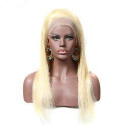 Long Silky Straight Blonde Color Free Part Human Hair Lace Front Glueless Wig -