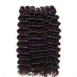 Indian Hair 3 Bundles with Closure Deep Curly Human Hair Extensions -