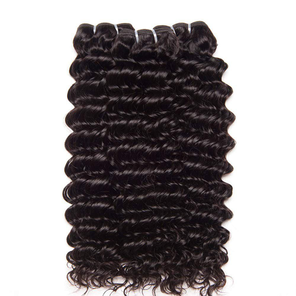 New Indian Hair 3 Bundles with Closure Deep Curly Human Hair Extensions