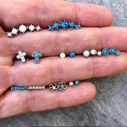 7 Pairs/set Mix Blue White Crystal Cross Stud Earring Set for Woman -