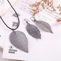 Natural Leaf Necklace Eardrop Jewelry Set -