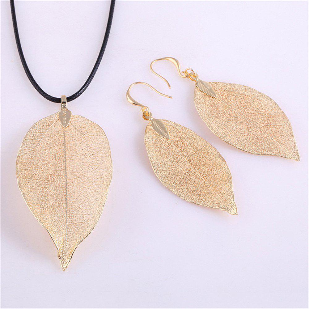 Chic Natural Leaf Necklace Eardrop Jewelry Set