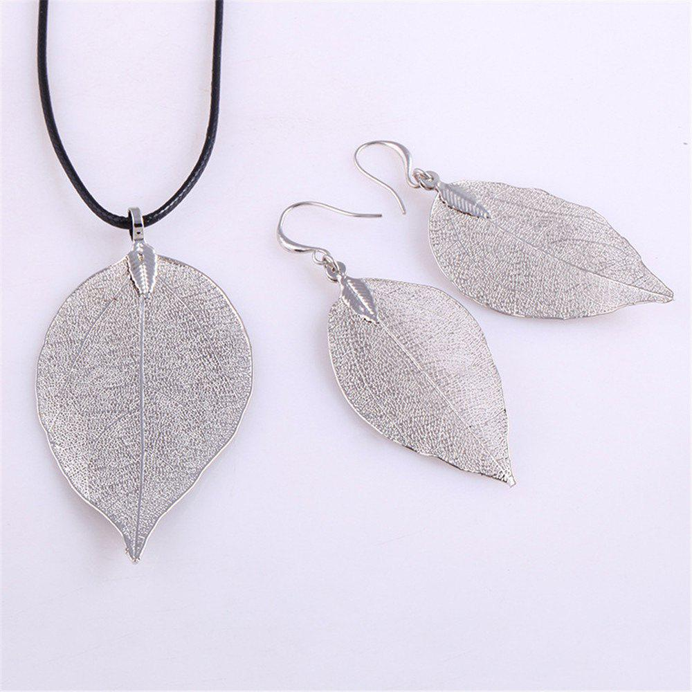 Cheap Natural Leaf Necklace Eardrop Jewelry Set
