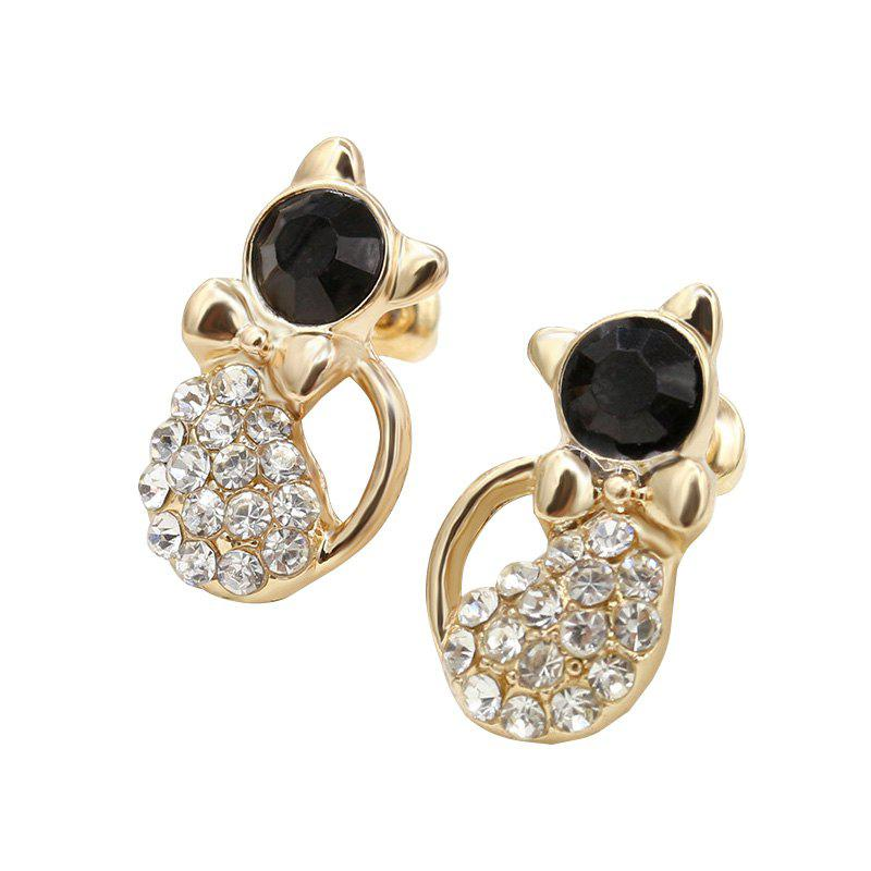 Simple and Cute Cat with Diamond Stud Earrings