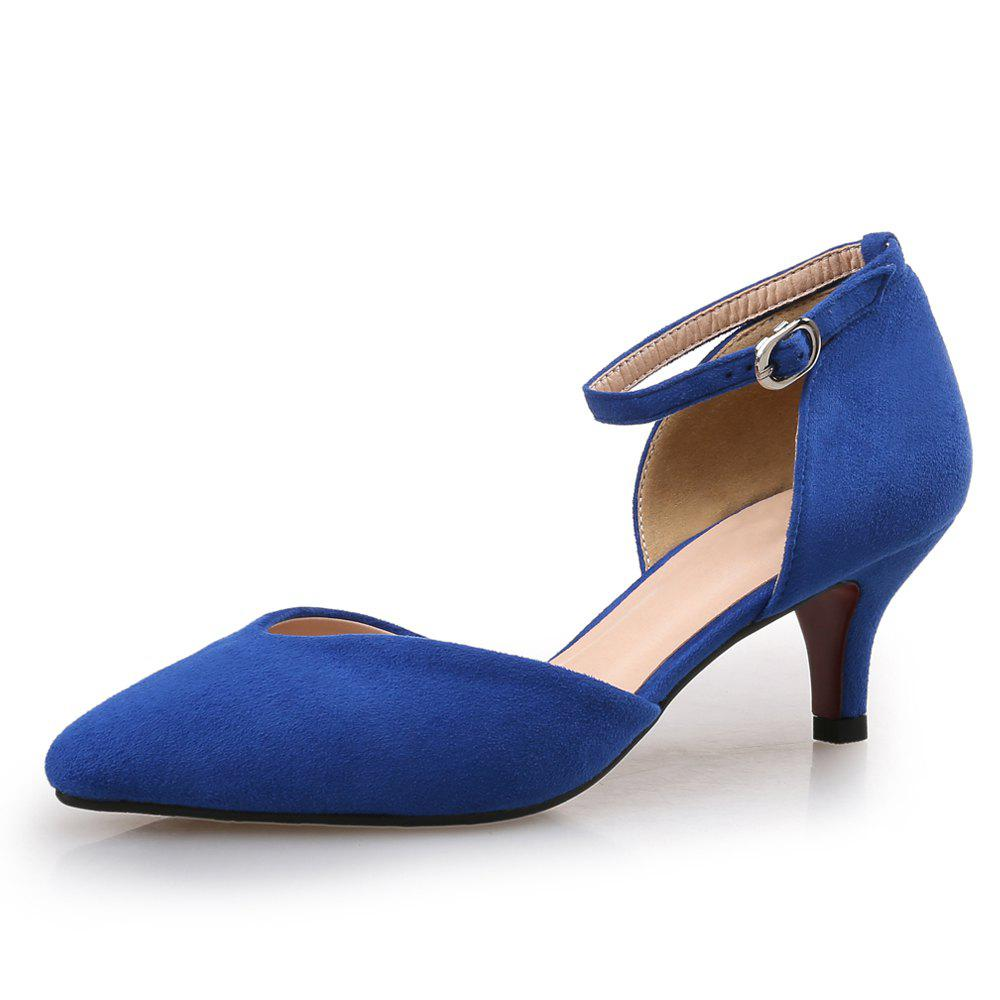Online Shallow Mouth Pointed Hollow One Word Buckle Fine Heel Women'S Shoes