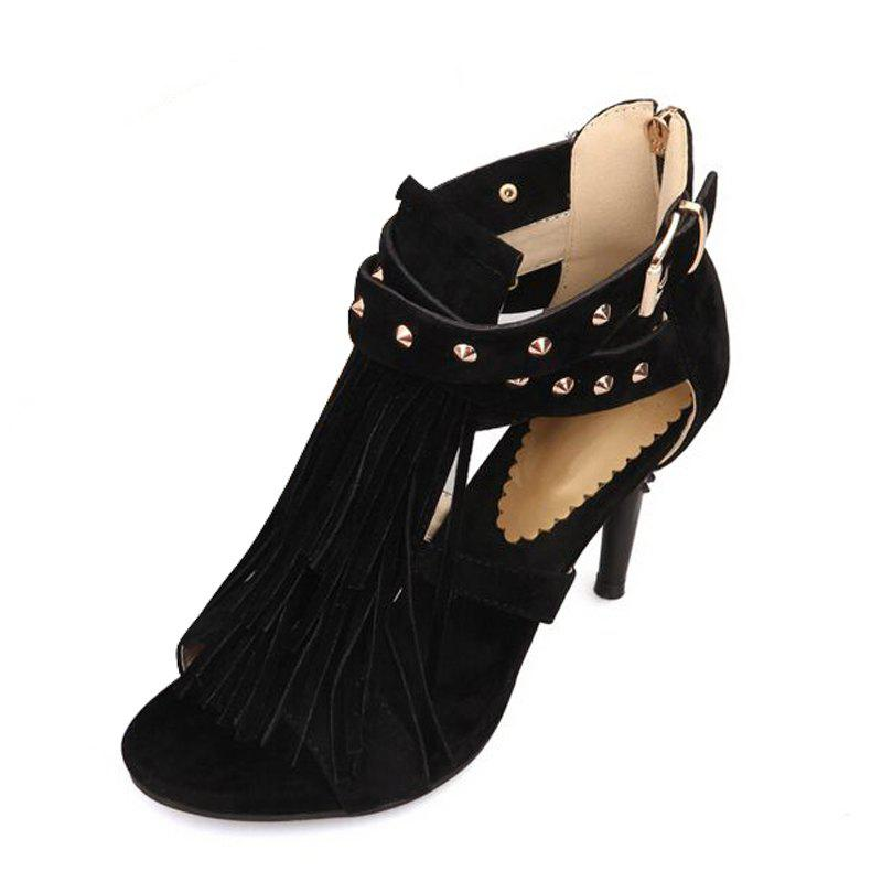 Buy Slender High Heel Rivet Tassel Buckle Zipper Sandals