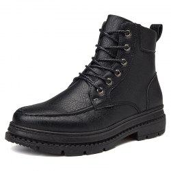 Men British High-Top Leather Trend Tooling Boots -