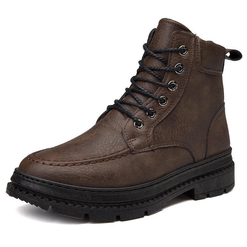 Fashion Men British High-Top Leather Trend Tooling Boots