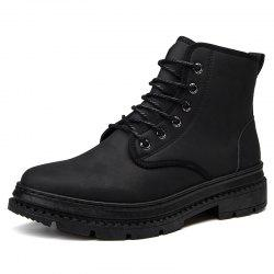 Men Leather British Wear-Resistant Non-Slip Casual Shoes Tooling Boots -