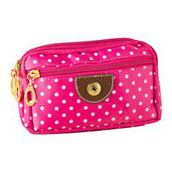 New Women'S Polka Zipper Handbag Canvas Bag Wallet Phone Bag -