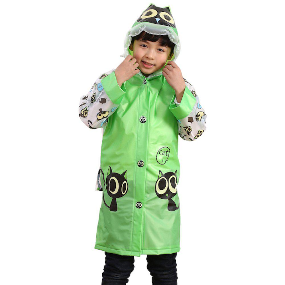 Affordable Long Cute Kids Children Raincoat with School Backpack Cover and Cartoon Hoods