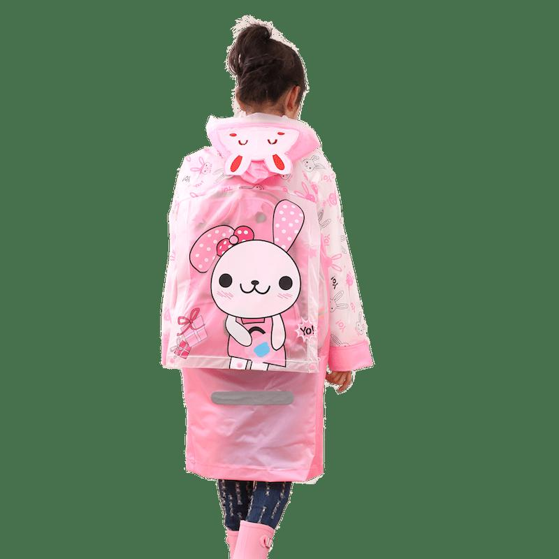 New Long Cute Kids Children Raincoat with School Backpack Cover and Cartoon Hoods