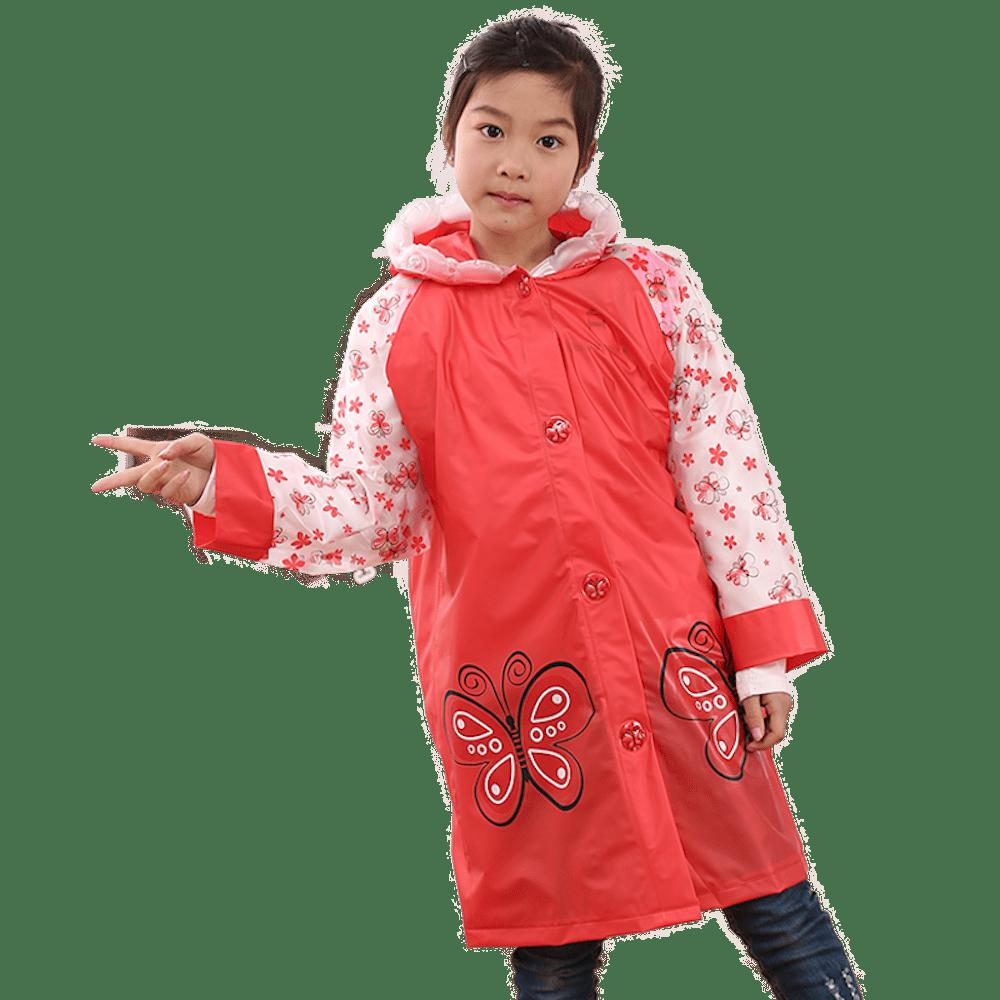 Online Long Cute Kids Children Raincoat with School Backpack Cover and Cartoon Hoods