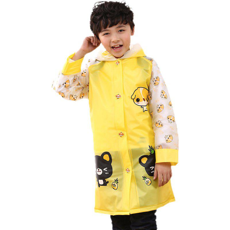 Store Long Cute Kids Children Raincoat with School Backpack Cover and Cartoon Hoods