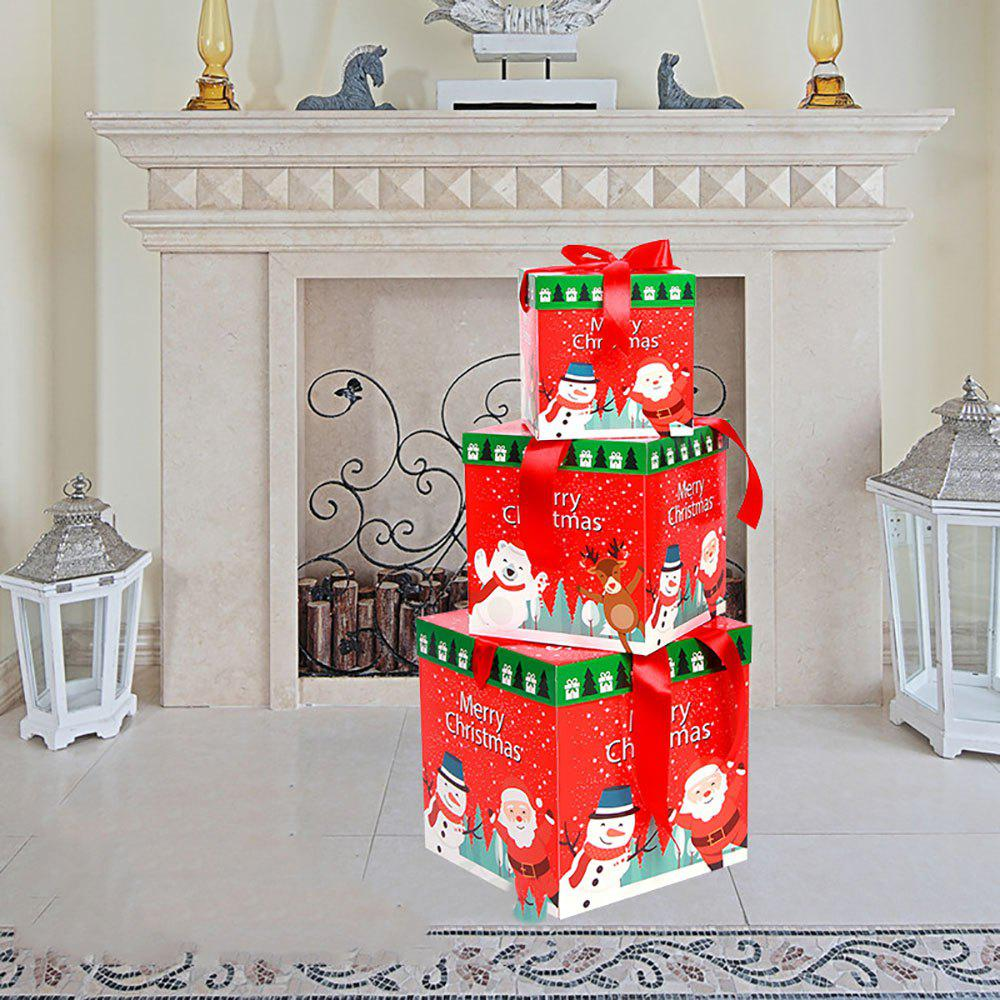 Store Christmas Tree Scene Decoration Gift Box Set of Three Sets of Colored Paper Gift