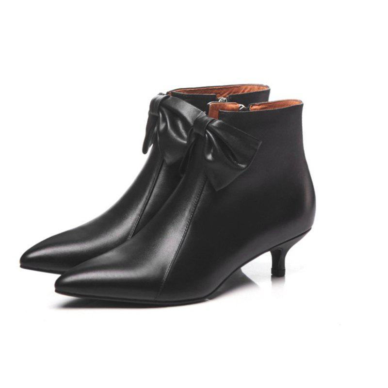 Outfits Leather Ankle Boots Women's 3cm High Heel Boots