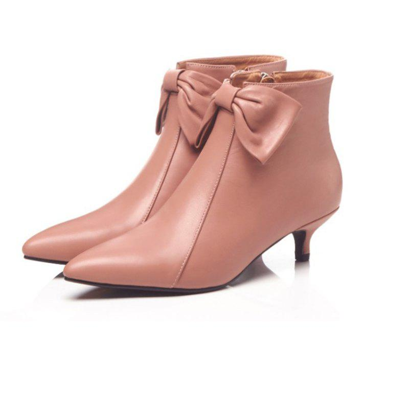 Online Leather Ankle Boots Women's 3cm High Heel Boots